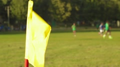 Flag on the corner of the football field where playing football Stock Footage