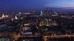 Helicopter flight near Moscow city business center. Modern Russian skyscrapers.  Stock Footage