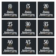 Set sign for happy anniversary. Stock Illustration