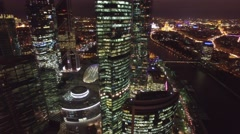 Unique Aerial flight around and approach to windows of Moscow City. Stock Footage