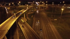 Complex road junction from above. Unique night aerial drone flight.  Stock Footage