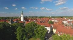 Aerial view of Celle medieval homes, Germany Stock Footage
