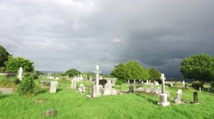 old celtic cemetery graveyard in ireland - stock footage