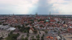 Lubeck homes from the air, Germany Stock Footage