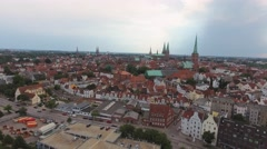 Lubeck, Germany. Beautiful city aerial view Stock Footage