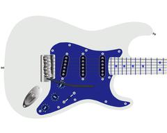 Electric Guitar In Blue - stock illustration
