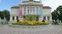 The facade of the theatre of Klagenfurt Stock Footage