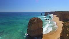 Twelve Apostles on a beautiful day, aerial view of Australian Coast - stock footage