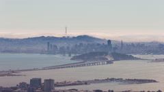Downtown San Francisco and Bay Bridge Aerial Day Timelapse Stock Footage