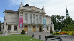 The facade of the theatre of Klagenfurt - stock footage