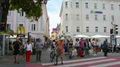 Street in Klagenfurt Stock Footage