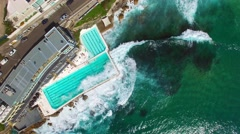 Ocean pool in front of the ocean. Overhead view of Bondi, Sydney - stock footage