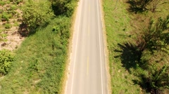 AERIAL: Straight Street in Peru in rainforest Stock Footage