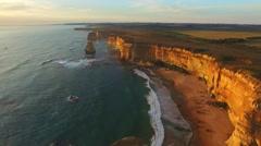 Aerial view of Twelve Apostles at dusk, beautiful coast of Victoria, Australia Stock Footage