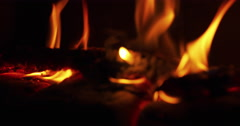 Close up flames in a fireplace with wood coal Stock Footage