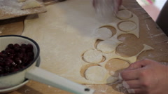 Making dumplings of dough Stock Footage