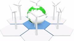 4k Windmill Turbines Clean, rotate 3d earth model,Green Wind Energy,new power. Stock Footage