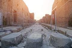 Pompeii ancient archeological site - stock photo