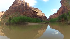 Canoeing on the Green River into Utah's Labyrinth Canyon, USA Stock Footage