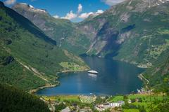Aerial view of scenic Geirangerfjord Stock Photos