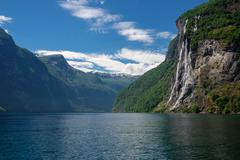 Beautiful view of Seven Sisters Waterfall, Geirangerfjord Stock Photos