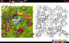 Insect characters coloring book Stock Illustration