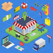 Flat 3d web isometric e-commerce, electronic business, online shopping, payment Piirros