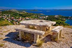 Archipelago of Croatia hill viewpoint Stock Photos