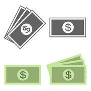 Vector money icon, dollar bill, flat design Stock Illustration