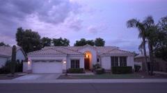 Early Evening Establishing Shot Typical Arizona-Style Residence - stock footage