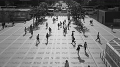 Monochrome Time Lapse of crowd passing at station square in Summer. Stock Footage