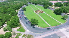 4K aerial view stanford university traffic parking Stock Footage