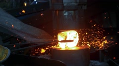 Men at work, forging steel machine inside industrial plant Stock Footage