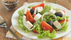 Greek salad with fresh vegetables Stock Footage