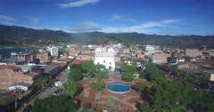 Aerial Flyover the plaza in Guatape Stock Footage