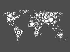 World map mosaic of cog wheels Stock Illustration