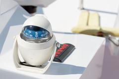 Helm station on sailing boat Stock Photos