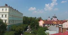 Chernivtsi, Ukraine. Popovycha str. Aerial. Stock Footage