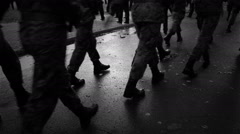 Group of soldiers walking down the street. Stock Footage