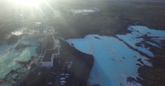 Aerial of Iceland's Blue Lagoon with lens flare Stock Footage