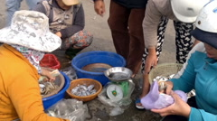 Vietnamese women selling fish at the outskirts of Da Nang, South Vietnam - stock footage