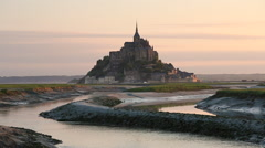 The island of Mont-Tombe and Abbey of Mont-St.-Michel Stock Footage