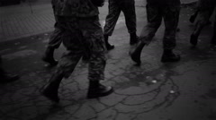 Military marches in city. Stock Footage