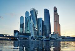 Moscow city (Moscow International Business Center) at evening Stock Photos
