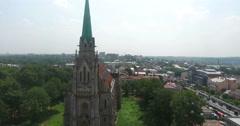 Chernivtsi, Ukraine. Church of the Heart of Jesus. Aerial. Stock Footage