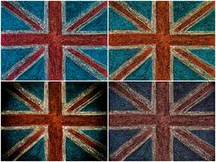 Photo collage of United Kingdom British Union jack flag, hand drawing with ch Stock Photos