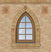 Arched old window Stock Illustration
