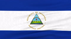 National flag of Nicaragua flying on the wind Stock Footage