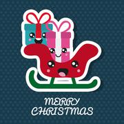 Kawaii gift and sled. Merry Christmas design. Vector graphic - stock illustration