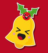 Kawaii bell. Merry Christmas design. Vector graphic Stock Illustration